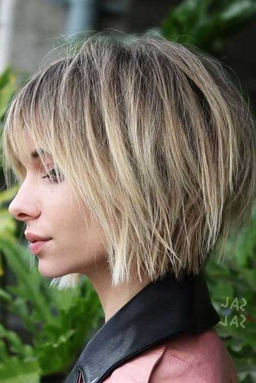 Layered-Bob-with-Bangs Beautiful Layered Short Haircuts for Ladies