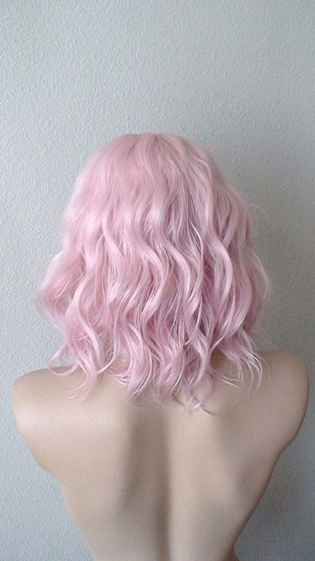 Pink-Hair-Color Short Hairstyles for Wavy Hair