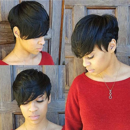 Pixie-Cut-with-Bangs-African-American Cute Short Hairstyles for Black Women