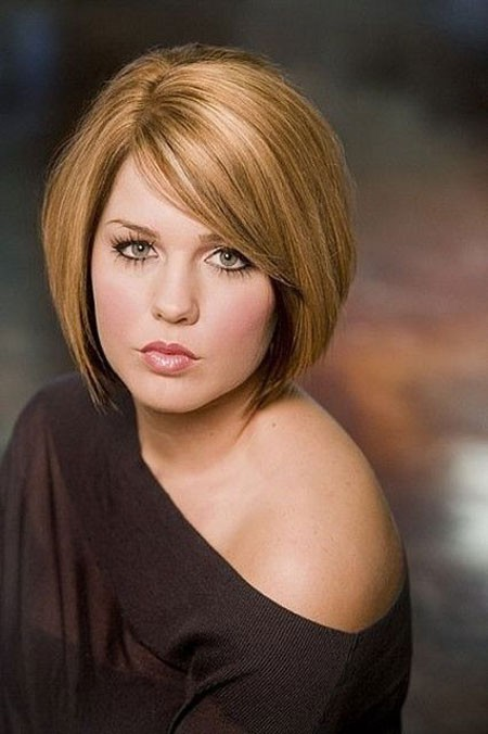 Round-Bob-with-Angles Short Hairstyles for Chubby Faces