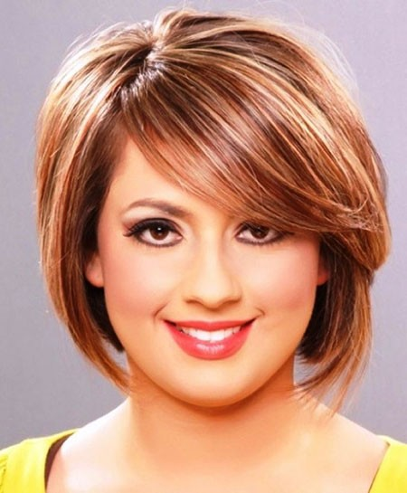 Short-Bob-with-Bangs Short Hairstyles for Chubby Faces