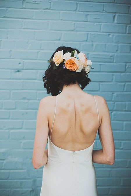 Short-Hair-Flower-Crown-Back Bridal Hairstyles for Short Hair