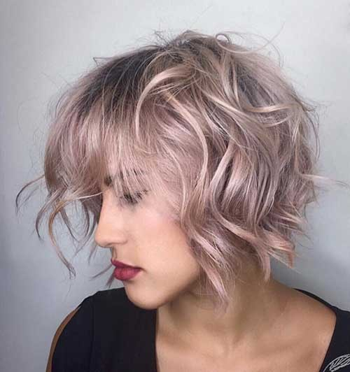 Short-Rose-Gold-Wavy-Hair Best Short Haircuts You will Want to Try