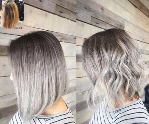 Silver-Blonde-Metallic-Ombre Best Short Haircuts You will Want to Try