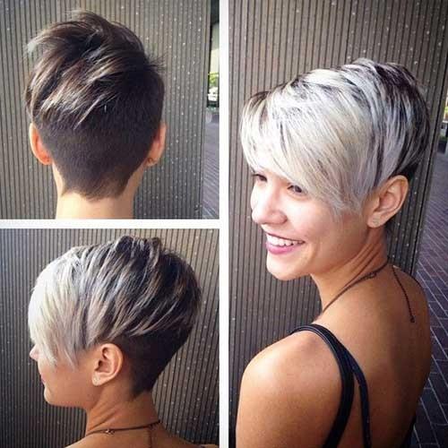 Asymmetrical Short Silver Pixie Haircut