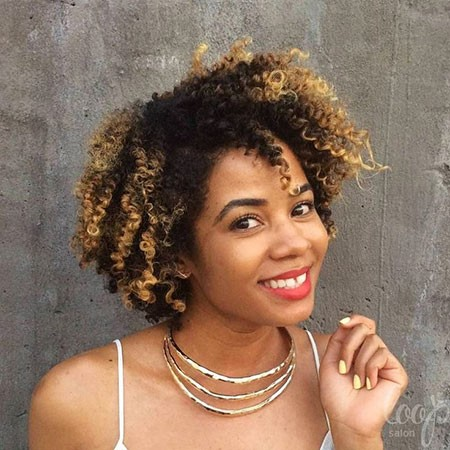 Black-Afro-with-Highlights Short Curly Haircuts for Black Women