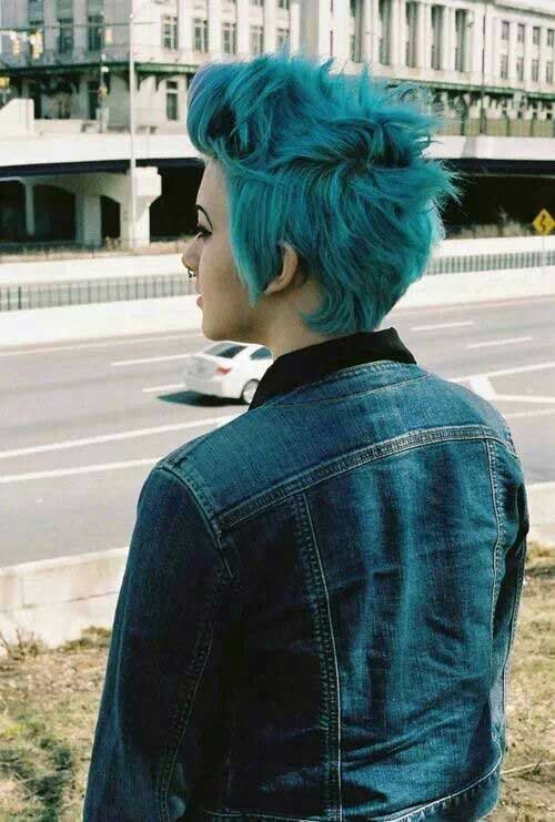 Blue-Spiky-Pixie-Style-Idea Best Short Pixie Cuts