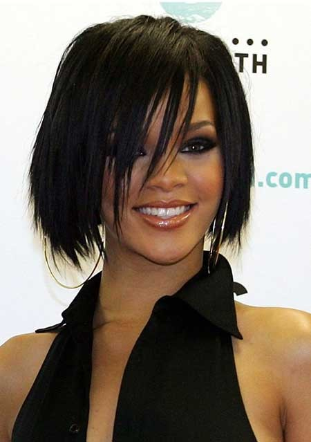 Dark-Straight-Filled-Bob Layered Bob Haircuts