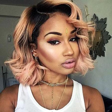 Rose-Gold-Hair Short Hairstyles for Black Women 2018