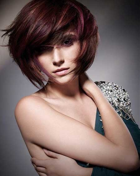 Short-Thick-Bangs-Red-Bob Layered Bob Haircuts