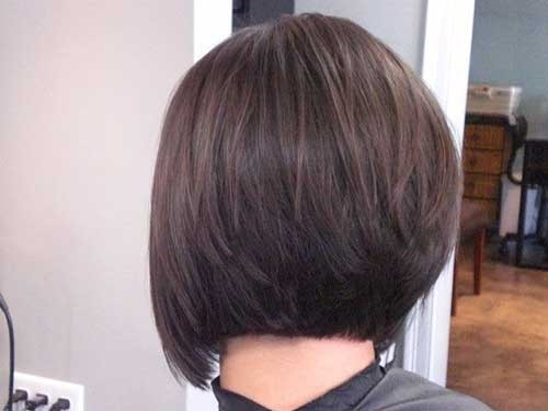 Simple-Stacked-Bob-Haircut-with-Dark-Hair Short Stacked Bob Hairstyles