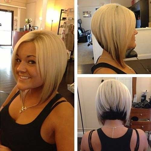 Stacked-Blonde-Bob-Style-with-Dark-Ends Short Stacked Bob Hairstyles