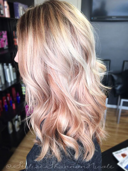 7-Rose-Gold-Blonde-Hair-605 Blonde And Pink Ombre Hair