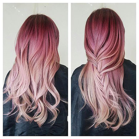 9-Dark-Raspberry-Hair-Colour-607 Blonde And Pink Ombre Hair