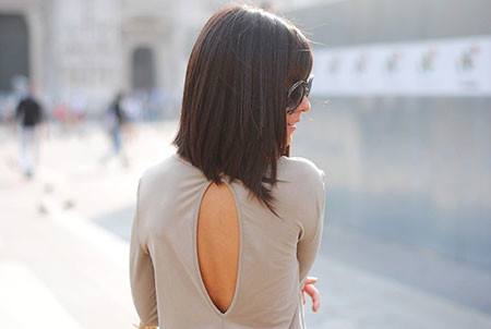 Back-View New Short to Medium Hairstyles with Bangs