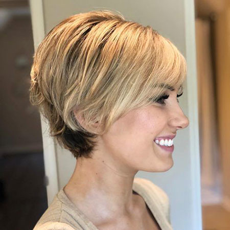 Blonde-with-Black-back Chic Short Haircuts with Bangs
