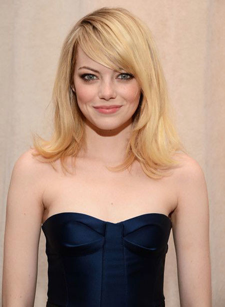 Emma-Stone-Medium-Straight-Cut New Short to Medium Hairstyles with Bangs