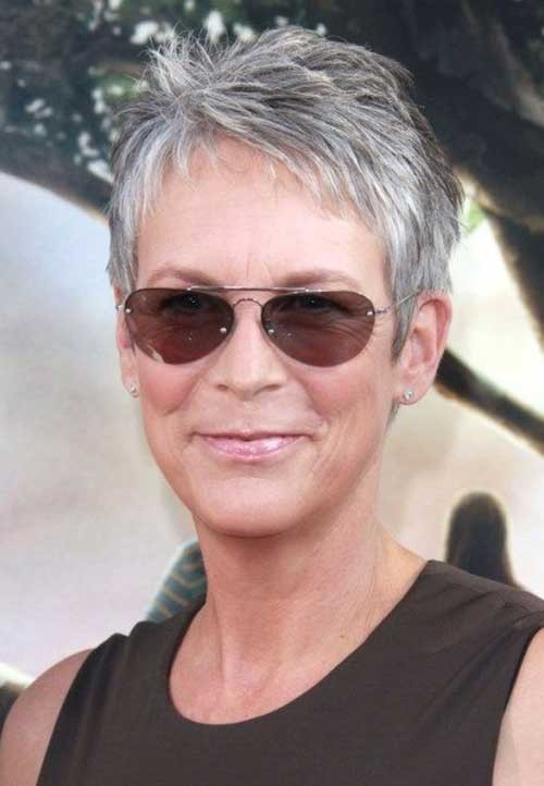 Jamie-Lee-Curtis-Very-Short-Pixie-Haircut Short Pixie Hairstyles for Older Women
