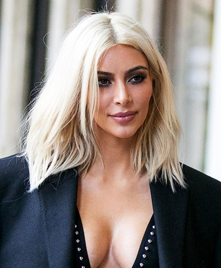 Kim-Kardashian-Blonde-Hairstyles Best Short White Blonde Hair
