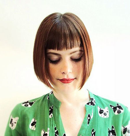 Middle-Parted-Angled-Bob Chic Short Haircuts with Bangs