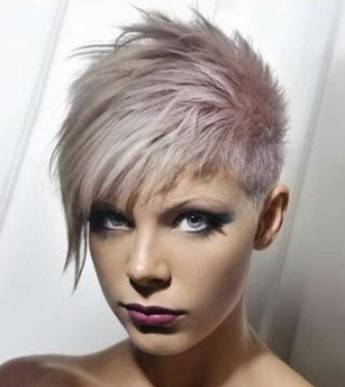 Pastel-Grey-Hairdo-with-Spikes Spiky Short Haircuts