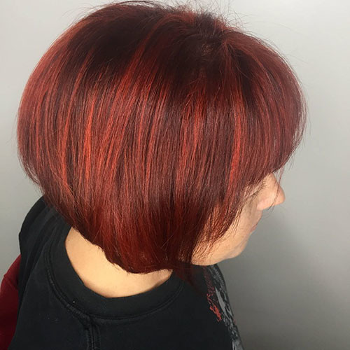 Red-Hair-with-Bangs Best Short Hairstyles for Women 2019