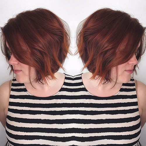 Red-Hair-with-Highlights Best Short Hairstyles for Women 2019