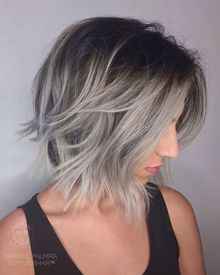 Stunning-Grey-Hair Amazing Short Ombre Hairstyles