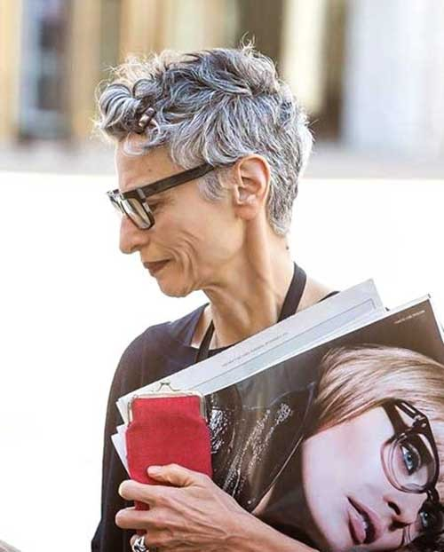Stylish-Short-Grey-Curly-Haircut Short Pixie Hairstyles for Older Women