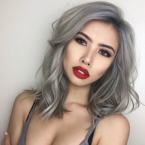 Grey-Hair-Color Best Short Hairstyles for Girls 2019