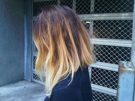 Lob-with-Ombre-Style Short Ombre Hairstyles