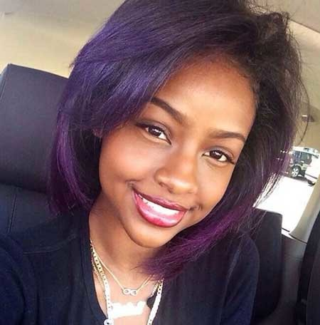 Purple-Colored-Layered-Straight-Hairstyle Short Bob Hairstyles for Black Women