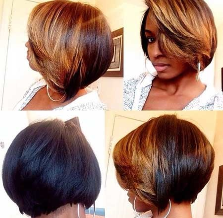Short-Boucny-Bob-with-Short-Highlighted-Bangs Short Bob Hairstyles for Black Women