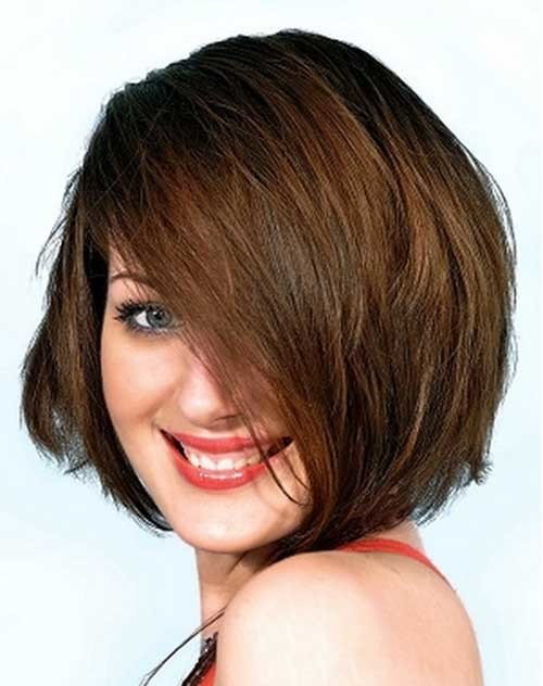 Short-Brown-Haircut-for-Chubby-Round-Faces Short Haircuts For Chubby Faces
