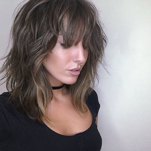 Short-Hair-Messy-Bangs Best Short Hairstyles for Girls 2019