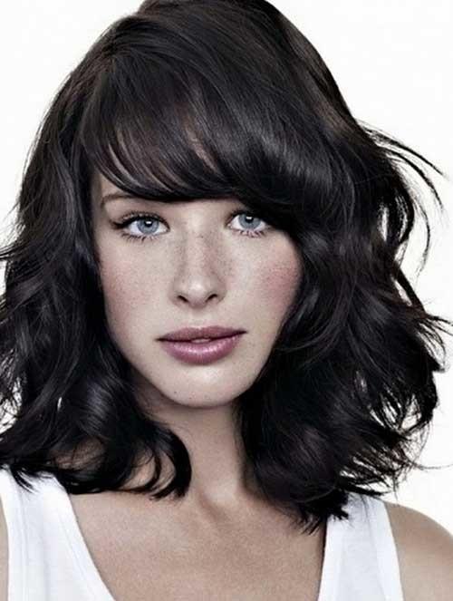 Short-Medium-Length-Thick-Hair-with-Side-Bangs Short Medium Length Haircuts