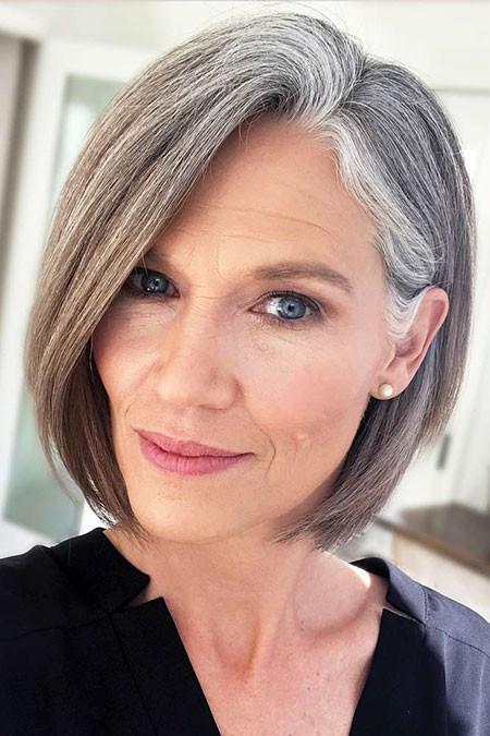 Side-Swept-Bob Short Hairstyles for Women Over 50
