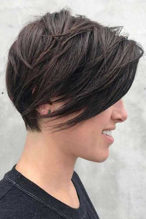 Fine-Hair-Layered-Short-Hairstyle 2018 Latest Layered Short Haircuts for Round Faces