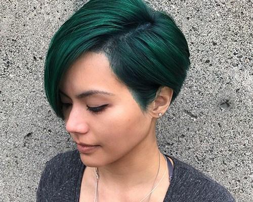 Green Pixie Cut