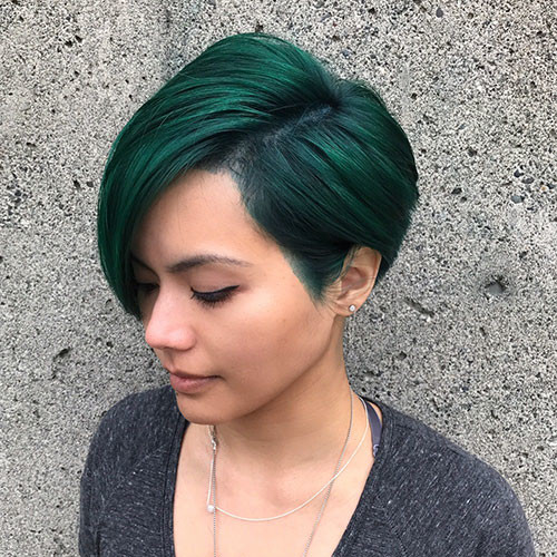 Green-Pixie-Cut Best Short Pixie Hairstyles 2018