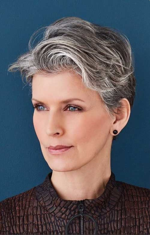 Natural-Grey-Pixie-Hair Classy Pixie Haircuts for Older Women
