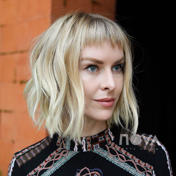 Blonde-Short-Hairstyle Short Hairstyles with Bangs 2019