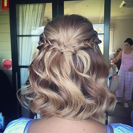 Braided-Wavy-Hairstyle Upstyles for Short Hair