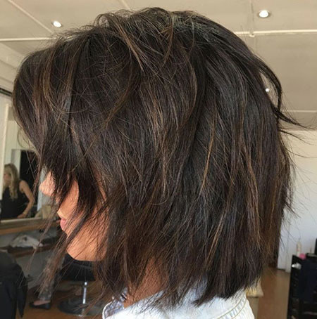 Brunette-Shaggy-Hairstyles Popular Short Haircuts 2018 – 2019