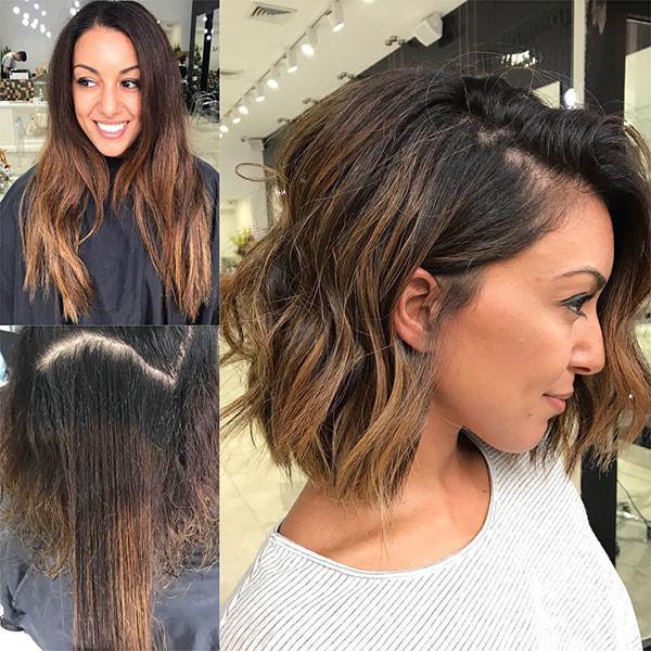 Brunette-Wavy-Hair Popular Short Wavy Hairstyles 2019