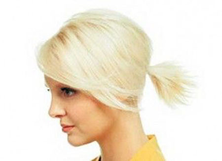 Choppy-Cut-Ponytail Ponytail Hairstyles for Short Hair