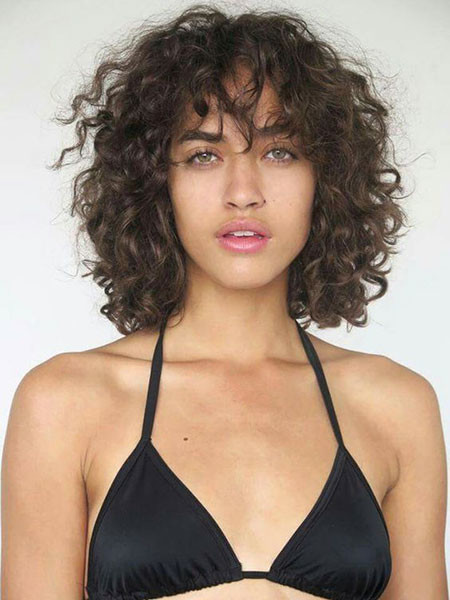 Curly-Hair-with-Bangs Popular Short Curly Hairstyles 2018 – 2019