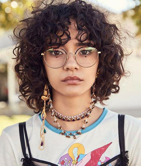 Cute-Curly-Hair-Bangs Popular Short Curly Hairstyles 2018 – 2019