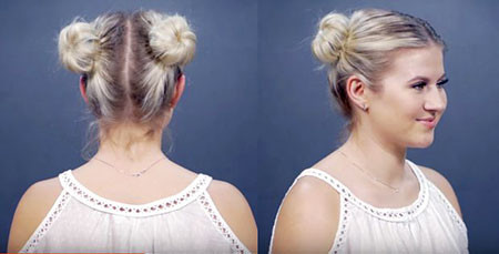 Cute-Two-Buns Hair Buns for Short Hair