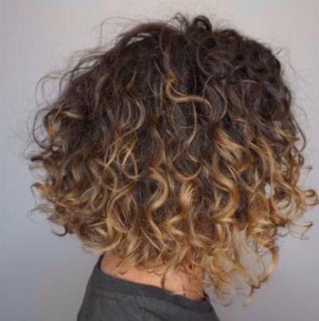 Dark-Blonde-Highlights Popular Short Curly Hairstyles 2018 – 2019